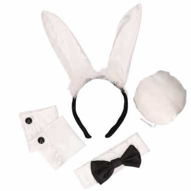Zwart/witte Playboy Bunny outfit