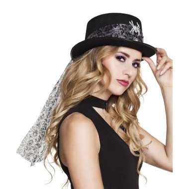 Zwarte hoed met glitter spin voor dames