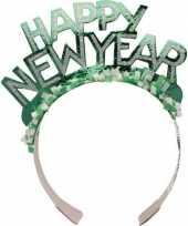 Diadeem happy new year groen voor volwassenen