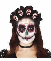 Diadeem tiara met rozen en schedels voor dames