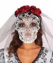 Halloween doodshoofd tiara met rozen sluier