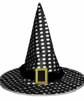 Halloween zwarte heksenhoed met stippen voor volwassenen