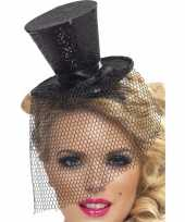 Mini hoedje zwart op haarband 10099101