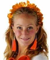 Oranje hawaiikrans verkleed tiara hoofdband voor dames