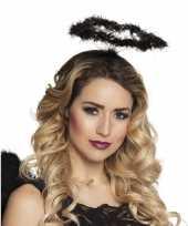Zwarte engel verkleed diadeem tiara met halo